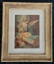 Antique Victorian Guardian Angel Child Baby Print Gold Wood &Gesso Picture Frame