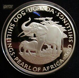 UGANDA, 500 SHILLINGS 1981, ELEPHANTS, SILVER 136 g., PROOF, RARE.