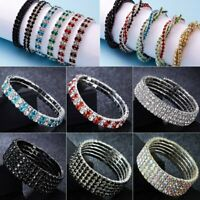 Fashion Multilayer Rhinestone Crystal Stretch Bracelet Bangle Wedding Wristband