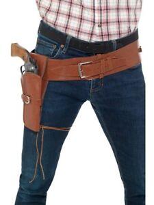 WESTERN COWBOY SINGLE HOLSTER ADULT MENS BROWN BLACK GUNMAN GUN COSTUME BELT