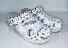 Dansko Women's White w/purple Polka Dots Leather Slip On Clogs Shoes Size 39