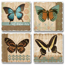 Mixed Absorbent Tumbled Stone Coasters Set of 4 Butterflies & Burlap Butterfly