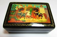 Russian Vintage Mstera Laquer Miniture Painting on Box Signed by the Artist