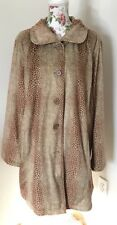 Dennis Basso Womens Plus Sz 2x Brown Animal Print Lined Button Down Coat Used