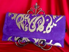 Suede Arabic Calligraphy Letters Clutch Purse Hand Bag with Metal Strap Egypt