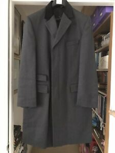 Charles Tyrwhitt Grey 100% Wool Overcoat with Velvet Collar 42R New without Tags
