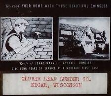 Johns Manville Asphalt Shingles Ad, Edgar Wisconsin Magic Lantern Glass Slide