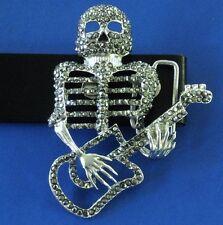 Belt Buckle Dark Silver Skeleton Playing Guitar & Genuine Leather Belt Brand New