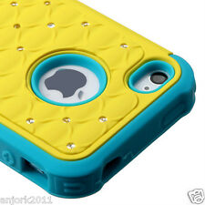 iPhone 4/4S Hybrid Spot Diamond Hard Case Skin Cover Yellow Teal Blue
