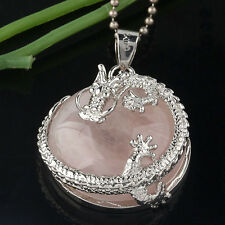 1PC Nature Quartz Pink Crystal Round Coin Pendant Fit Chain Silver Plate Dragon