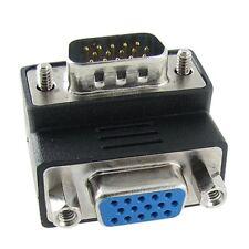 Para subir y bajar el ángulo 90 grado VGA SVGA Macho a Hembra VGA 15Pin adaptador de Monitor
