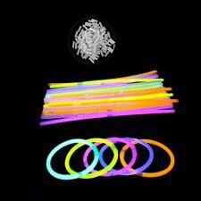 NEW 100Pcs Glow Sticks Bracelets Necklaces Fluorescent Neon Party Wedding Magic