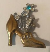 Antique Vintage Gold Wash Glass Rhinestone Shoe Floral Brooch Pin