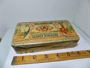 Kyriacou King George Egyptian Cairo 50 Cigarette Tin c1920s - Empty Paper wrap