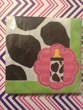 Moo La La Baby Girl Cow Bottle Beverage Pink Napkins 3-ply 16ct. Shower