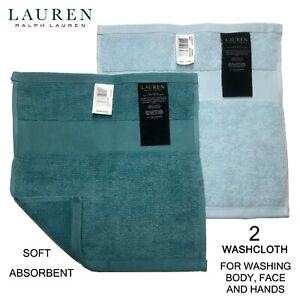 2 LAUREN Ralph Lauren Wescott Turq Blue / Lagoon Blue Face Hand Body Washcloth