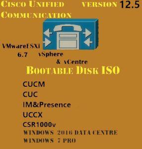 Cisco Collaboration Voice Lab CUCM CUC IMP UCCX version 12.5 Bootable disks ISO