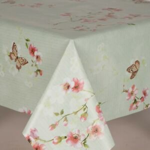 Blossom Flowers and Butterflies on a green ground PVC Vinyl Wipeclean Tablecloth