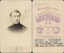 Franck, Paris, Jeune homme militaire nommé Georges Aubry, circa 1870 CDV vintage