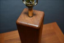 Tall Teak Wood Block Table Lamp Danish Modern Martz
