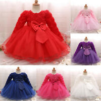 Newborn Baby Kid Girl Long Sleeve Princess Tutu Dress Party Wedding Pageant T
