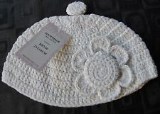 Powell Craft White Crochet'd Baby Girl's Hat With Flower O/S
