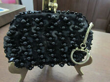 PURSE VINTAGE EVENING BAG HAND SEWN BEADS & SEQUINS WITH ATTACHED KEY CHAIN
