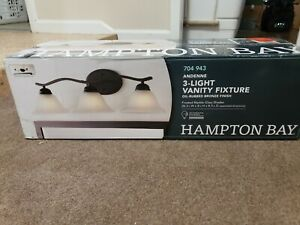 Hampton Bay Andenne 3-Light Oil Rubbed Bronze Bath Vanity Light New Other