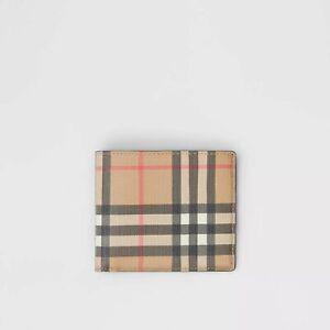 Burberry Vintage Check E-canvas International Bifold Wallet Archive Beige