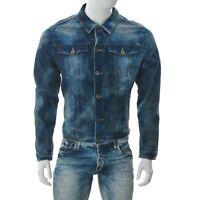 One Grün Elefant Herren Kurz Jeans Jacke Acid Wash Blau Größe L