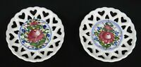 """Vintage Porcelain Plate Wall Hangers*Set of 2*Handcrafted* 5""""*Reticulated Hearts"""