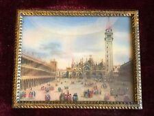 Miniature Painting On Ivorine Antique Venice Signed Italy Velvet Gilt Frame