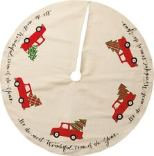 "VINTAGE RED TRUCK Christmas Tree Skirt 36"" Country Farmhouse Primitives By Kathy"