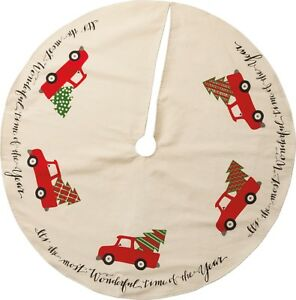 """VINTAGE RED TRUCK Christmas Tree Skirt 36"""" Country Farmhouse Primitives By Kathy"""