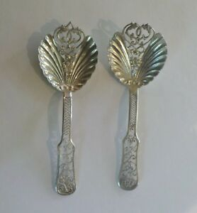 Pair Continental Silver Reticulated Bon-Bon Spoons