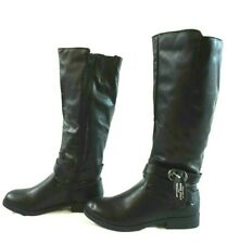 NIB STYLE&CO Women's Blk Vegan Leather Zip Ankle Straps Madixe Riding Boots 7.5M
