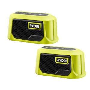 Ryobi Tool Bluetooth Compact Speaker Cordless Wireless Job Site ONE+ 18V, 2-Pack