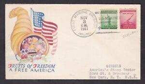 USA WW2 US Forces ICELAND Gimbels patriotic cover 1941 1st Marine Brigade cancel