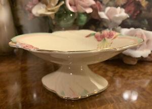 Vintage Royal Winton Cream Tigerlily Compote Dish Pedestal Plate Bowl Tazza Chip