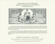 US $2 Educational Silver Certificate Note BEP Souvenir Card 1972 ANA Convention