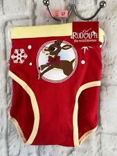 Rudolph The Red Nosed Reindeer Yellow Red Hipster Panties Size 7 New