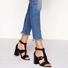 f71665009eca NEW Faith Black Suedette Buckle  Darota  High Block Heel Ankle Strap Shoes  ...
