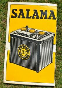 1960s Finland SALAMA Accumulators Energy Batteries Advertising Tin Sign Plaque