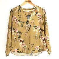 Wallis Petite Mustard Yellow Bird Print Blouse Size 12 Shirt Top Winter Floral