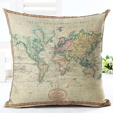 Vintage World Map Atlas Antique Faded Old Retro Cushion Cover UK Seller Next Day