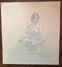 Original Miriam Slater Blue Ink Nude Woman Posing Figure Drawing Signed Artwork