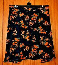 Black & Orange vintage print Skater Mini Festival Summer Surf Beach Skirt Size
