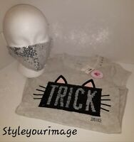 JUSTICE GIRLS TRICK OR TREAT FLIP SEQUIN TEE SHIRT WITH SEQUIN SILVER FACE MASK