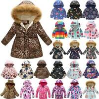 Kids Toddler Baby Girls Floral Hoodie Padded Jacket Winter Warm Coat Snowsuit