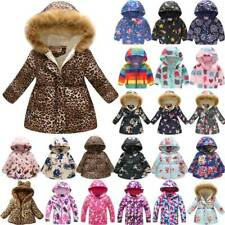 Kids Child Baby Girls Winter Warm Coat Floral Hoodie Padded Jacket Outerwear